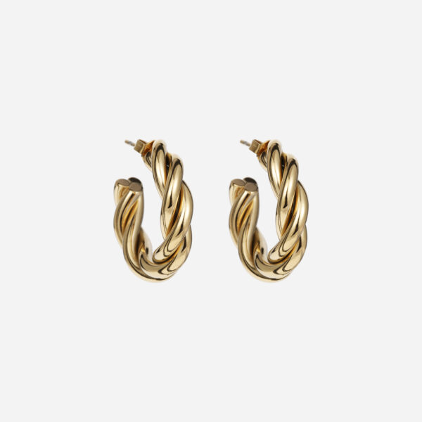 Bold twisted earrings gold
