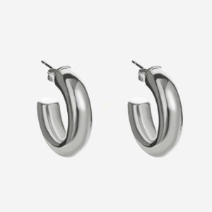Bold small hoops silver stainless steel