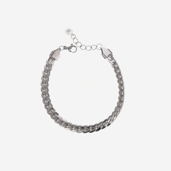 Flat chain bracelet silver