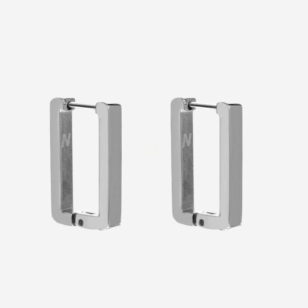 Square hoops earring silver